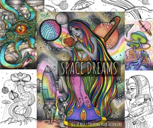 space dreams adult coloring book