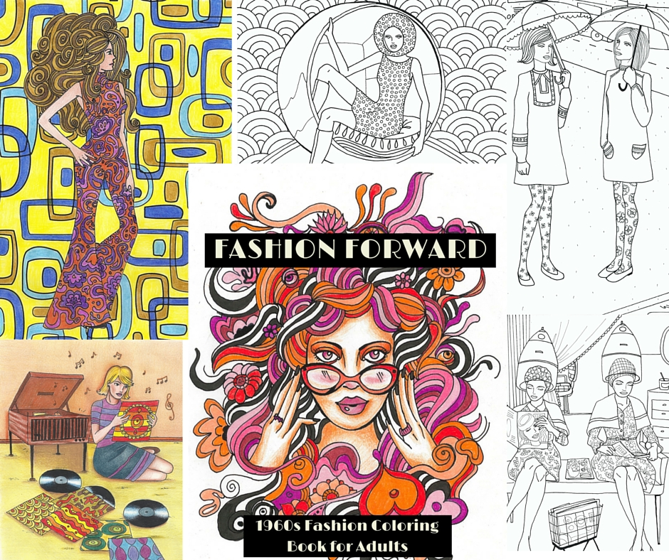 fashion forward 1960s coloring book