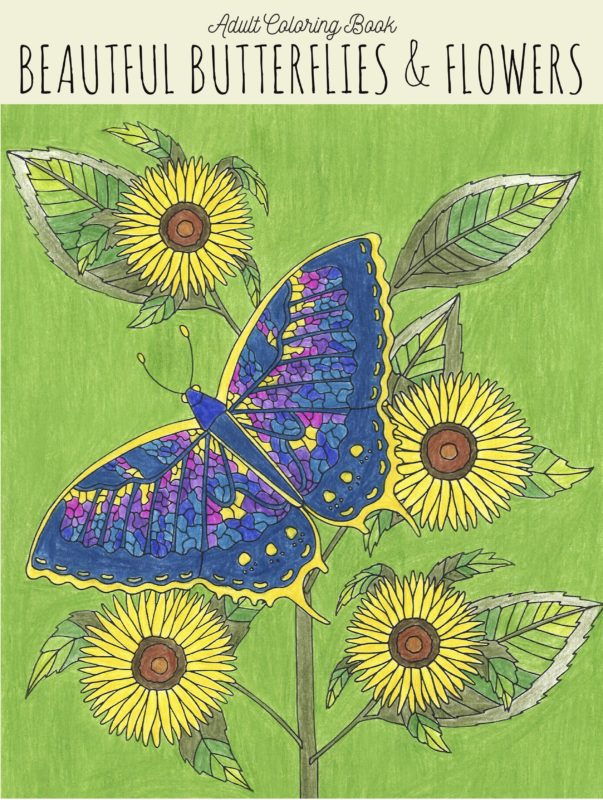 Adult Coloring Book: Beautiful Butterflies & Flowers